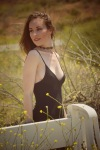Girl with a black tank dress