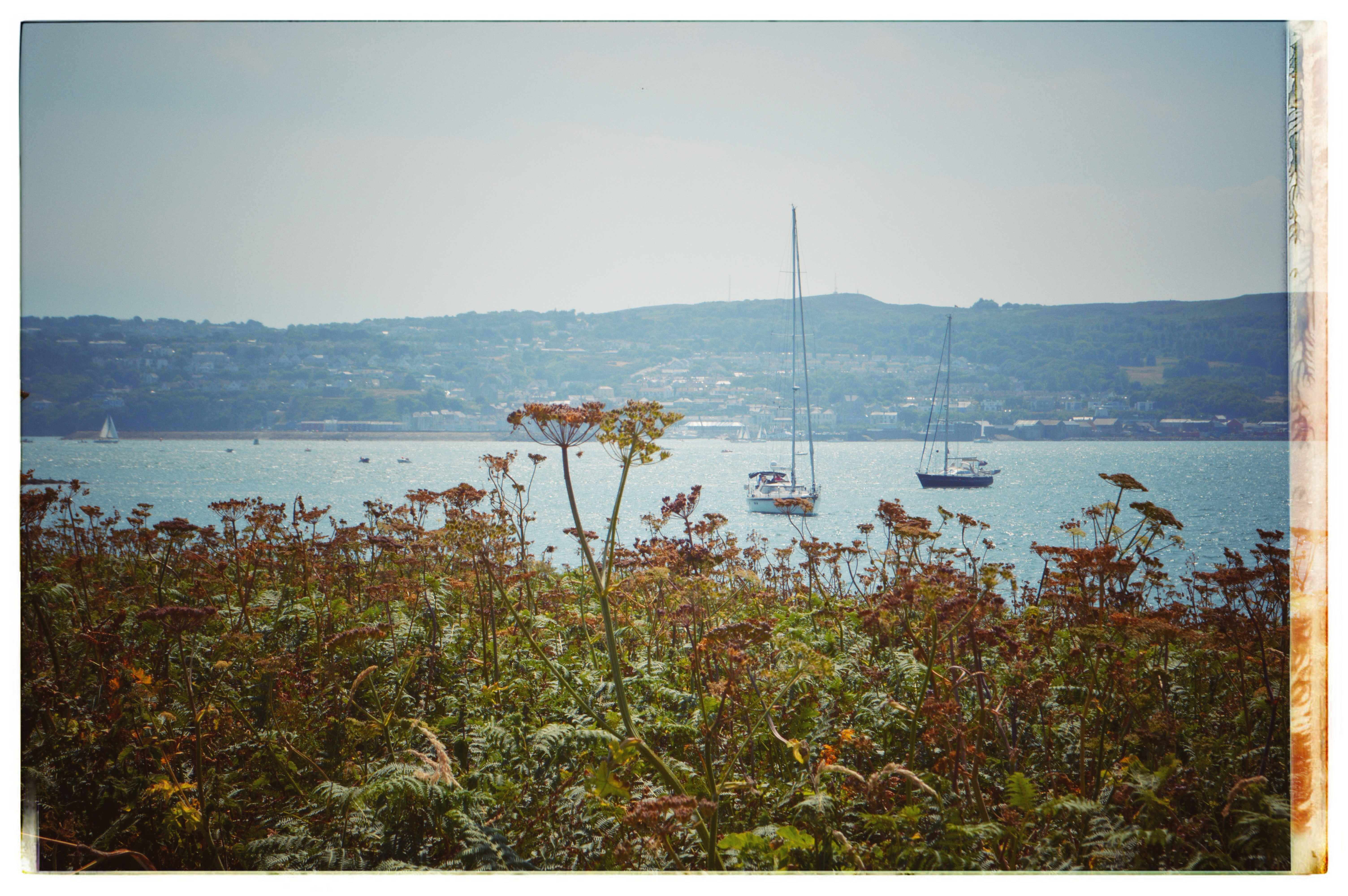 View of boats of island in Howth Ireland