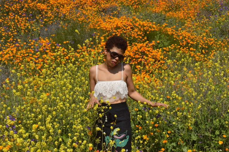 Girl standing in the middle of wild flowers walker canyon Lake Elsinore LaVonne Grady photography